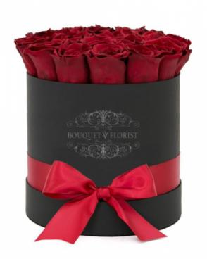 PASSIONATE ROSES BLACK FLOWER BOX