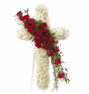 STANDING CROSS WITH RED ROSES